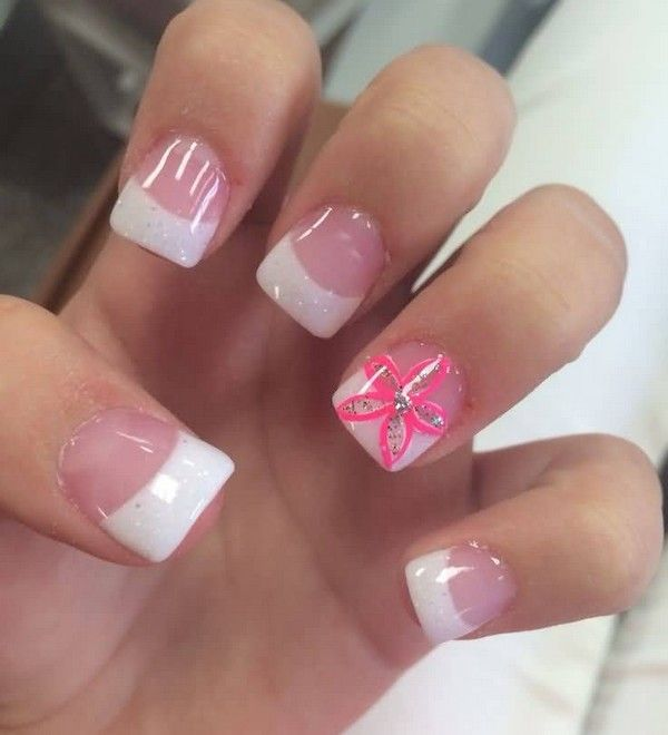 White And Pink Acrylic Nails