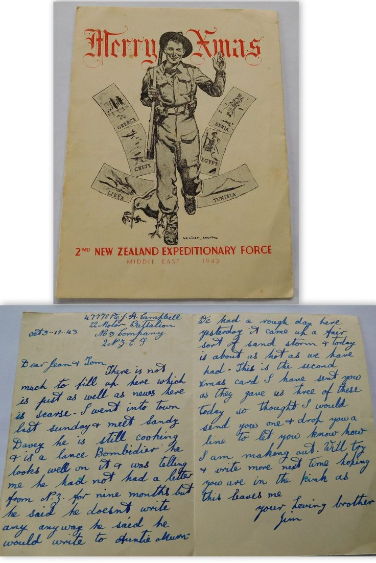 christmas card  2nd new zealand expeditionary force 1943