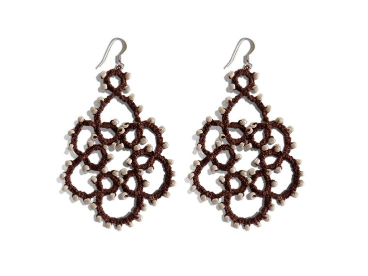 Handmade tatting earrings with a special glue for increased resistance to shade brown in combination with beige beads about 2 mm each.