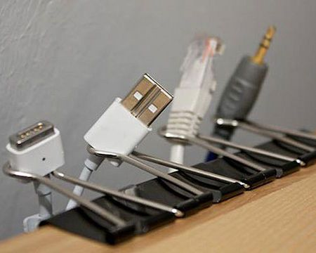 House and Home -- Organise cables -- Stop wasting time detangling your electrical cables and organise them once and for all. We love this simple yet effective use of bulldog clips to hold cables on the edge of a desk. Better yet, go for wireless options where you can reduce the cluttered look of endless wires.