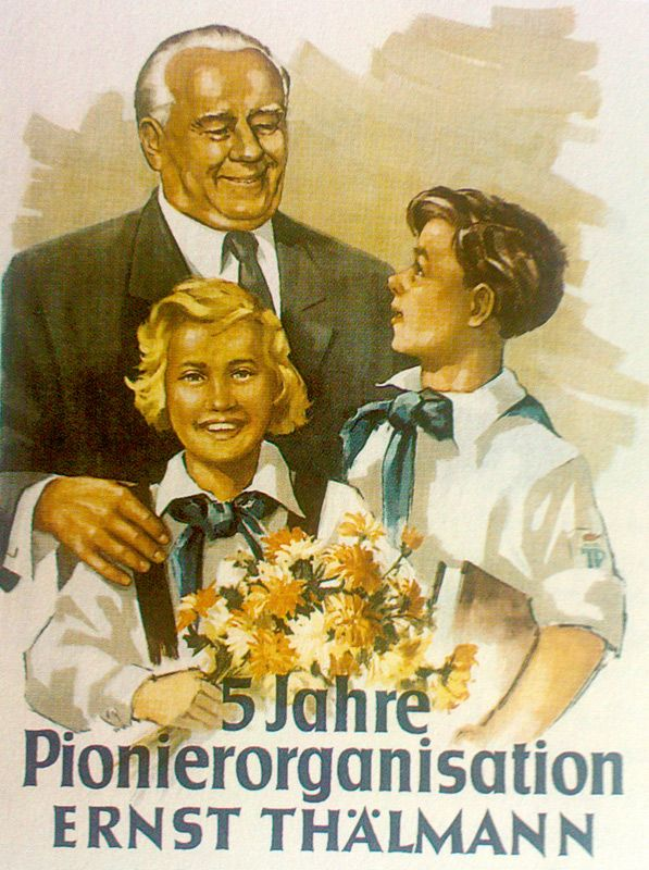 DDR (East Germany), 1953. The Ernst Thälmann Pioneer Organisation was a youth organisation of schoolchildren aged 6 to 14, in East Germany. They were named after Ernst Thälmann, the former leader of the Communist Party of Germany who was executed at the Buchenwald concentration camp.