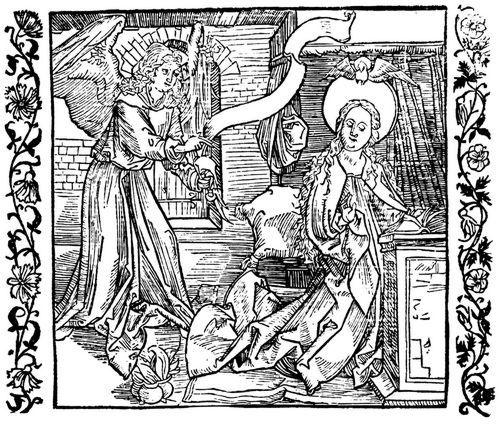 Dürer, Albrecht: Illustration zum »Der Ritter vom Turn«, Szene: Verkündigung und Geburt Christi