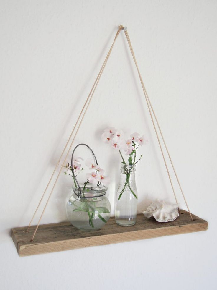 DIY triangle leather shelf