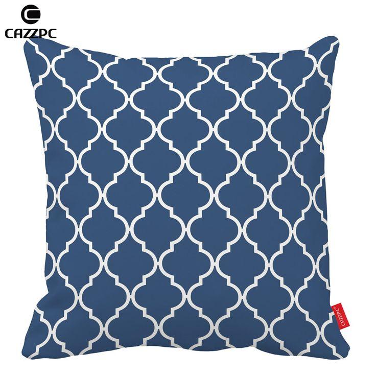 Azul marinho Coral Quatrefoil casos geométrica ambos os lados de impressão fronhas decorativas caso capa de almofada sofá carro cadeira decoração de casa()
