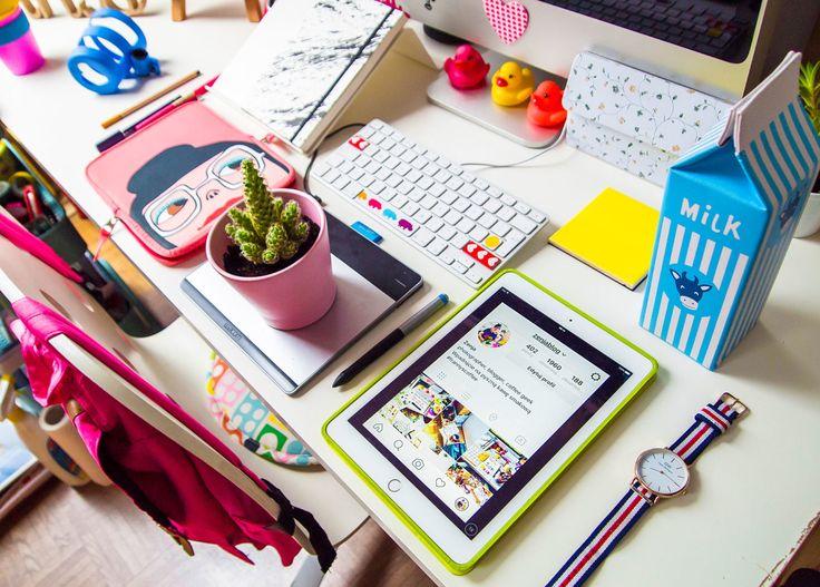 workspace, creative space, homeooffice, desk, office, organizer, iPad, catus, succulent, photo: Zenja blog