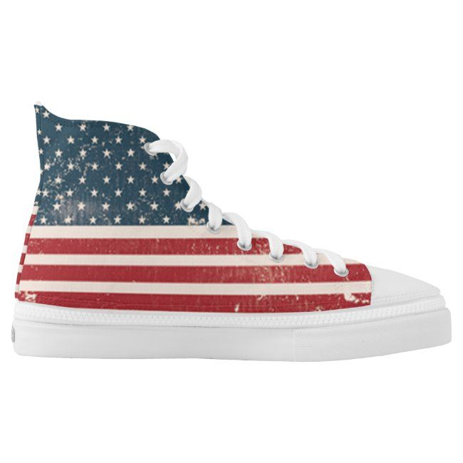 Cool Stylish Usa American Flag 4th Of July High Top Sneakers Zazzle Com In 2020 High Top Sneakers Top Sneakers High Tops