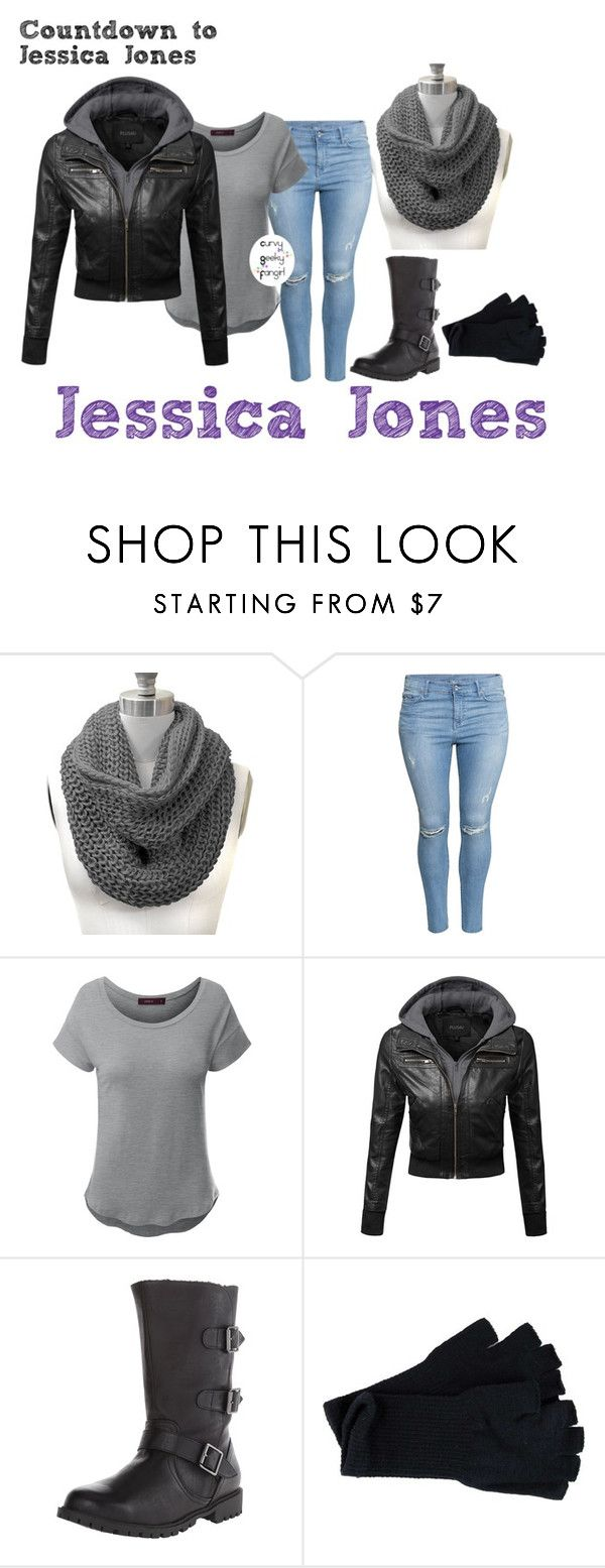 """""""Countdown to Jessica Jones: Jessica Jones"""" by curvygeekyfangirl ❤ liked on Polyvore featuring H&M and Doublju"""