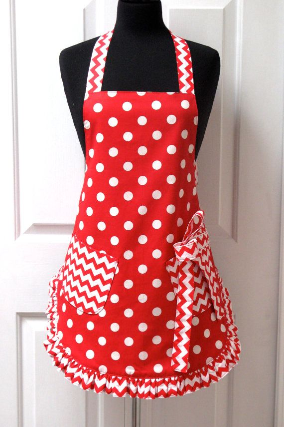 Reversible Retro Apron Red Polka Dots by GrammaMayHandicrafts, $49.00