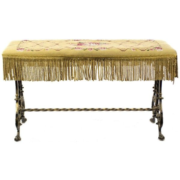 Scroll Bench Part - 31: Beaux Arts English Wrought Iron And Needlepoint Bench ($750) ? Liked On  Polyvore Featuring