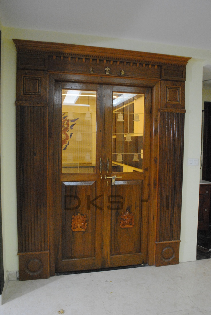 Glass doors design - Traditional Pooja Door With Modern Glass Bell Itching Burma Teak