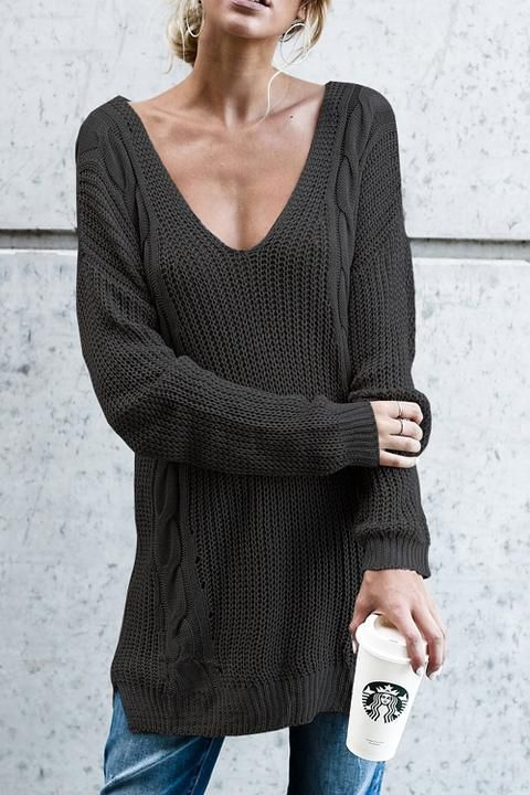 "Lbduk Euramerican V Neck Hollow-out Black  Acrylic Sweaters ""#womensfashion #genuine #vintage #chic #streetstyle #stylish #outfit #fashionista #modern #designers #instafashion #ootd #lookbook #beachwear #junior #summerstyle #brands #freeshipping"""