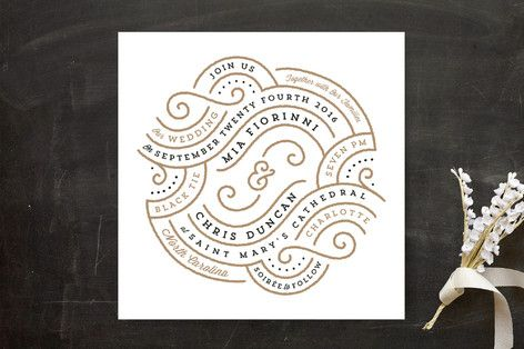 """""""Linea"""" - Modern Print-it-yourself Wedding Invitations in Champagne by Lori Wemple."""