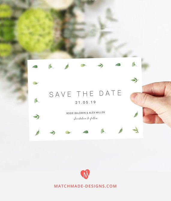 Simple Greenery Save the Date Template Minimalist Save Our Date