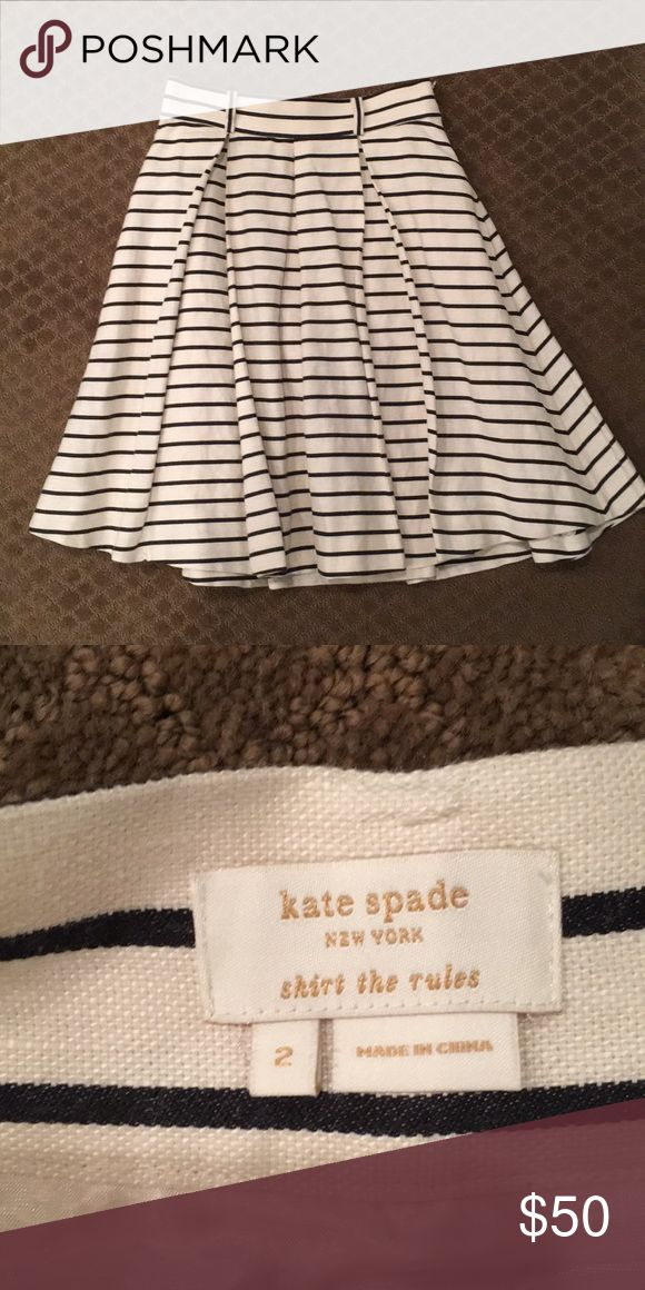 Kate Spade striped linen skirt Navy and cream striped linen Kate Spade skirt with belt loops. Fully lined. kate spade Skirts Midi