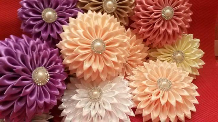 Неделя МК/Цветы канзаши новый сбор✔ Marine DIY✔
