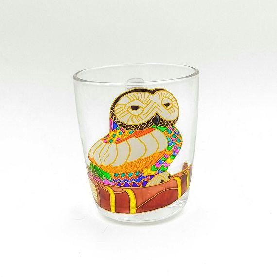 Owl on Book Mug Hand Painted Gift Coffee Tea Handmade