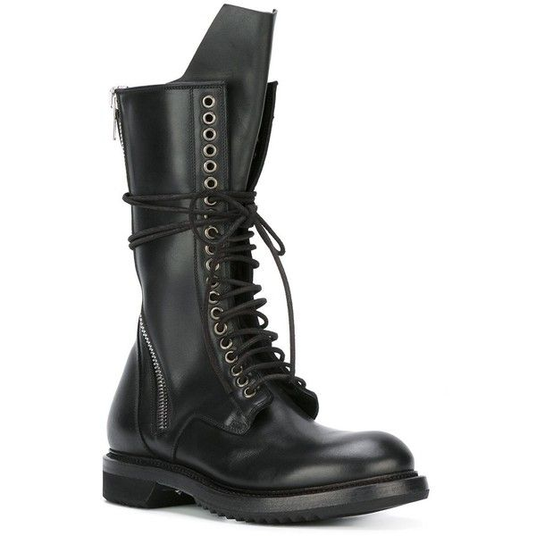 Rick Owens lace-up combat boots (€1.760) ❤ liked on Polyvore featuring shoes, boots, black combat boots, black leather shoes, military boots, side zip boots and combat boots