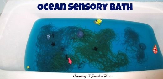 Ocean Themed Sensory Bath:I scented the water with ocean mist bath fragrance and colored the water blue using food coloring.Then I cooked up some pasta and then dyed half of it blue, and half of green. The pasta was to act as coral, algae, seaweed, and other ocean plant life.