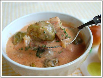 ごろっと芽キャベツ豆乳トマトスープ