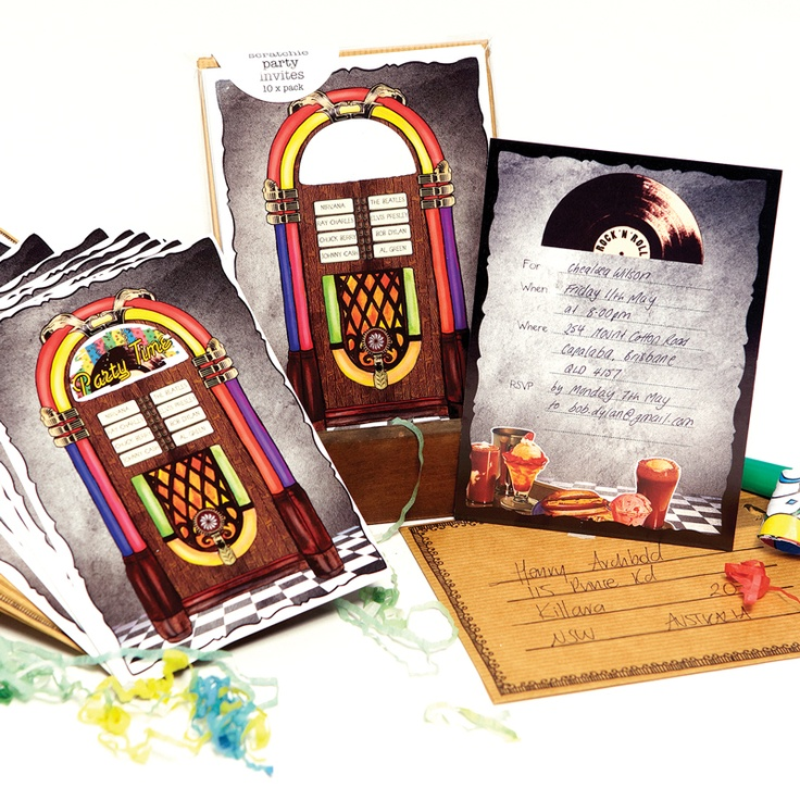 Juke Box Scratchie Card Party Invitations