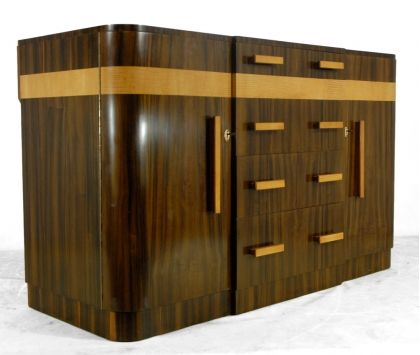 Art Deco Sideboard, French, rosewood satin birch, 1930.