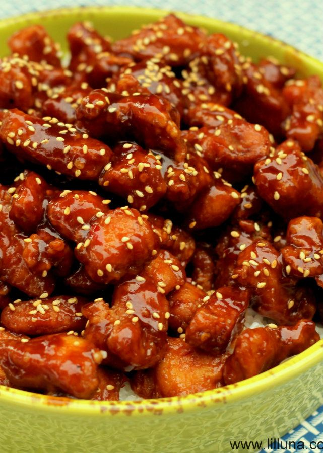 Honey Sesame Chicken » Wonder how this would be with cauliflower instead of chicken? Might have to give it a go!