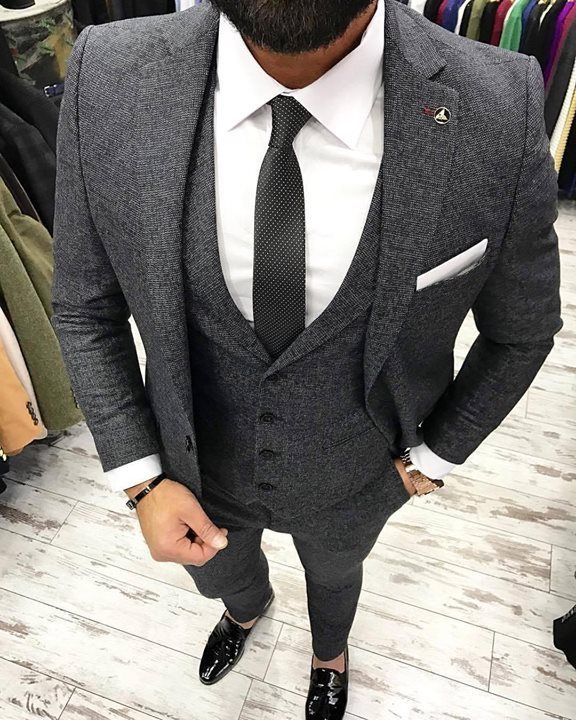 902f5ff245ed Men's gray three piece suit. #theclassypeople #bespoke #mensfashion  #menswear #menstyle #mensguides #suits #business #wedding #groom #groomsmen  ...