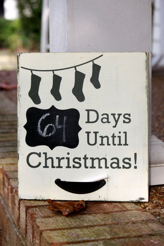 Countdown Until Christmas wood decoration for the holidays, How Many days until Christmas?, Christmas stockings, Chalkboard on Etsy, $25.00