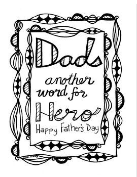 fathers day coloring page for dad another word for hero