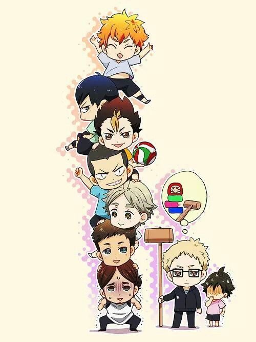 Haikyuu!! ~~ Chibi Tower that Kei wishes to destroy. :: Note the reference to a traditional Japanese game where you knock out blocks somewhat like Jenga. Cute!