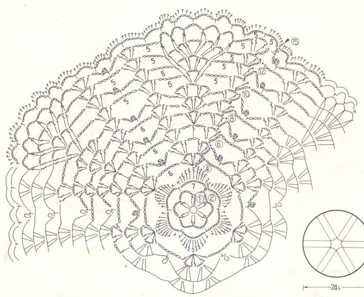 flower and fans round crochet doily diagram