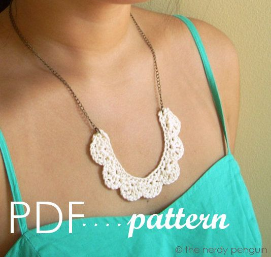 PDF crochet necklace pattern  Mignonne Necklace by thenerdypenguin, $4.00