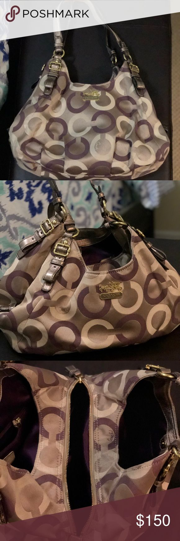Coach Madison Khaki Multi Maggie Shoulder Bag I got this in 2012, and it's been a great bag over the years. There is some wear and tear and staining inside and at the bottom that you can try to get out. The bag still looks good despite the normal wear and tear. It matches with most outfits and it's super spacious. The style is #19844 and UPC is 886382182889. Coach Bags Shoulder Bags