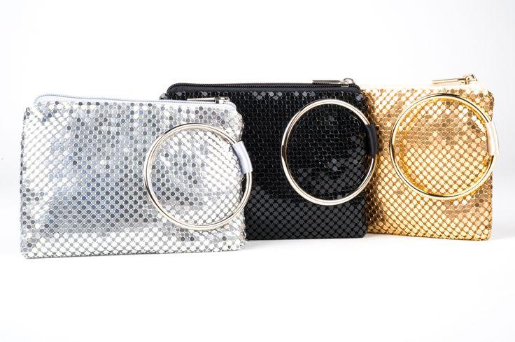 Diana Ferrari mesh purse with bangle - Silver, Black and Gold