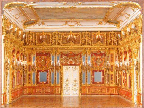 The Amber Room in the Catherine Palace of Tsarskoye Selo near Saint Petersburg