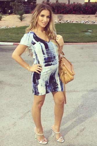 Jessie James Decker wearing Chloe Marcie Bag, Aqua Gravity Short-Sleeve Shift Dress, Giuseppe Zanotti Chain-Trimmed Mule Sandals and Melissa Lovy Grace Cuff