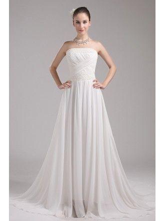 Beaded Ivory A line Chiffon Long Beach Wedding Dress Strapless #OP4043 $160 – GemGrace.com