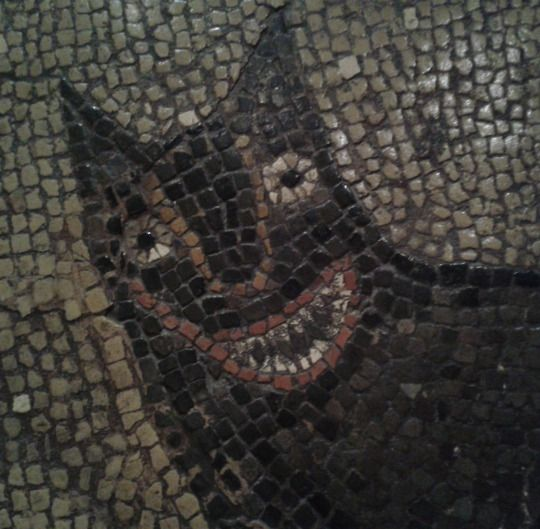 "Detail of the ""wolf"" from a Roman mosaic, 300-400CE, Isurium Brigantum (Aldborough, North Yorkshire), on display in Leeds City Museum. The mosaic depicts the legend of Romulus and Remus."