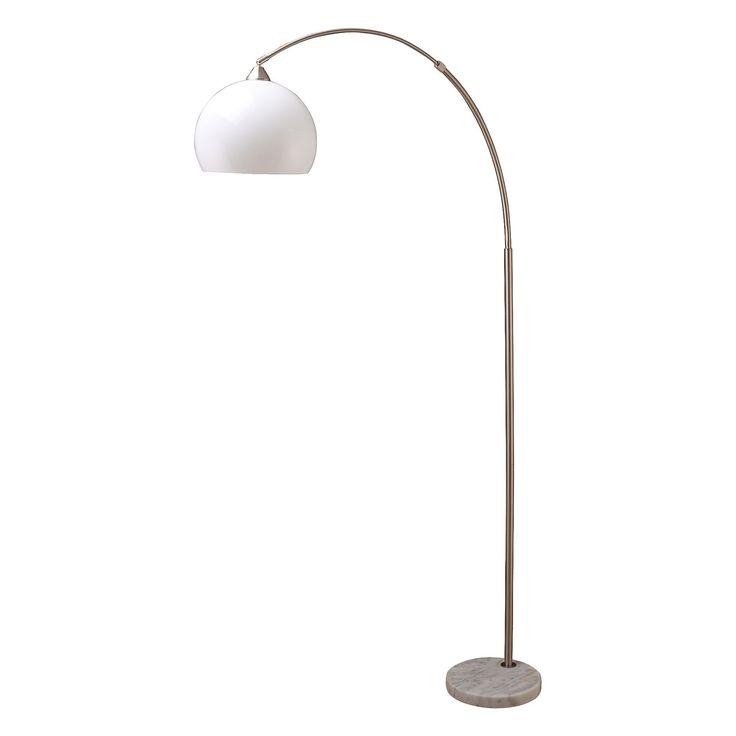 modern silver arc floor lamp on white marble base