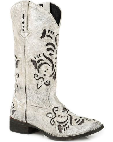 Roper Women's Belle White Antiqued Brushed Suede Cowgirl Boots - Square Toe - Country Outfitter