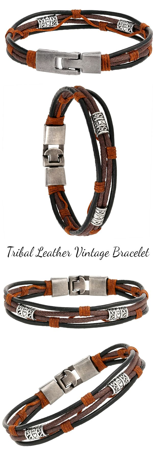 Tribal Leather Brown Black And Orange Wristband Vitnage Charms Surf Mens  Bracelet