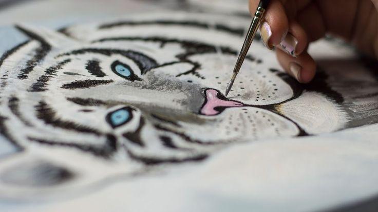Сонный Бенгальский Белый тигр - Рисование акрилом / Homemade Illustration