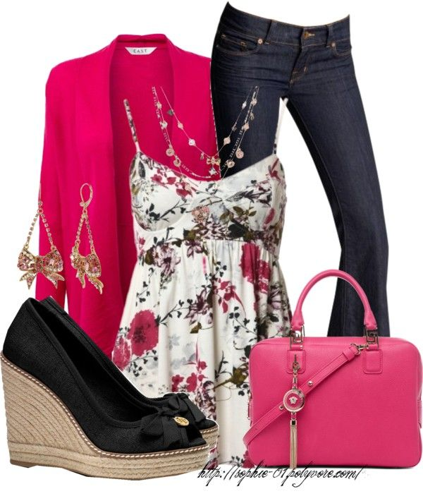 """""""Waterfall Cardigan & Betsey Johnson Jewelry"""" by sophie-01 ❤ liked on Polyvore"""