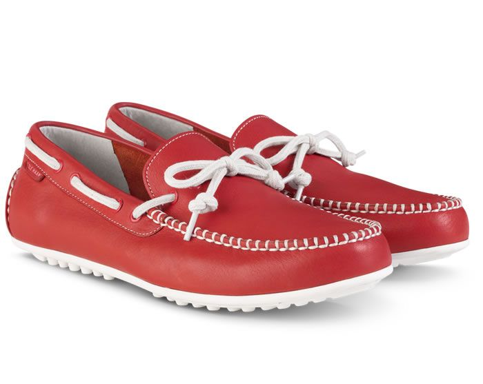 Men's red leather Grant LTE driving shoes from Cole Haan. #drivers