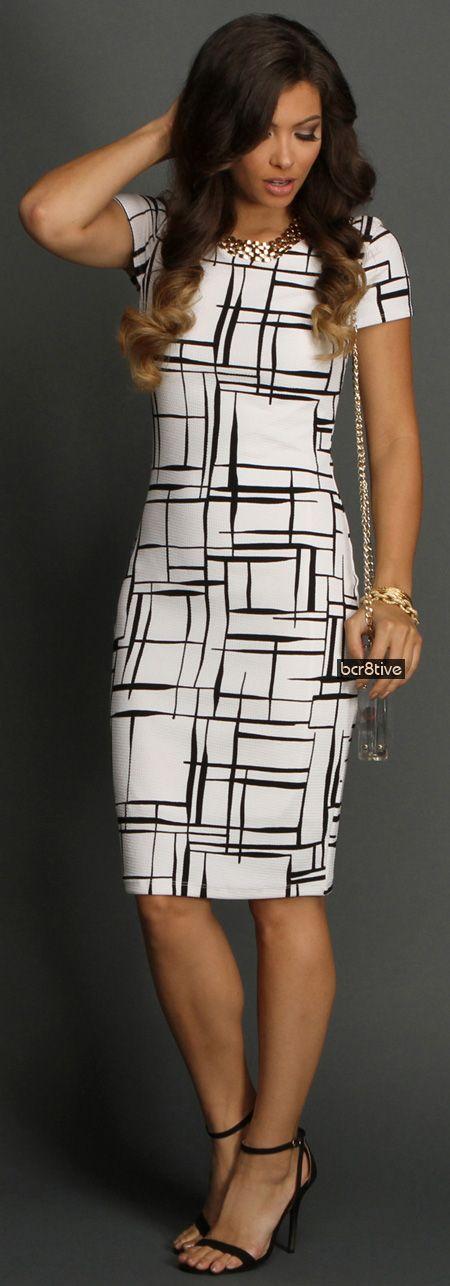 White Window Pane Dress