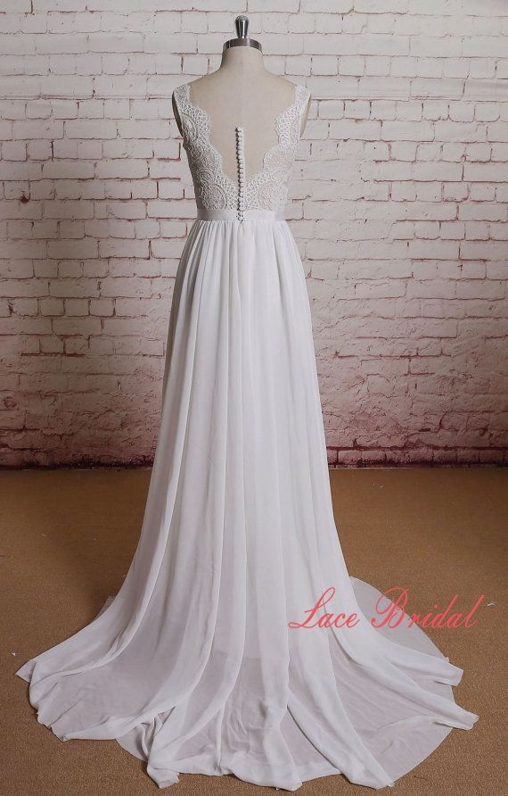 Sheer Ivory Lace Bodice Wedding Dress with A-line by LaceBridal