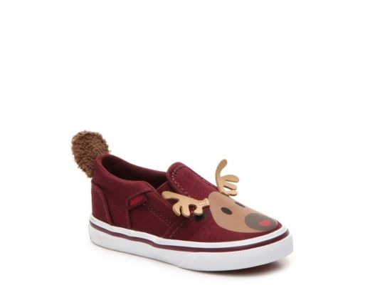 Women's Vans Asher Reindeer Girls Infant & Toddler Slip-On Sneaker - Burgundy
