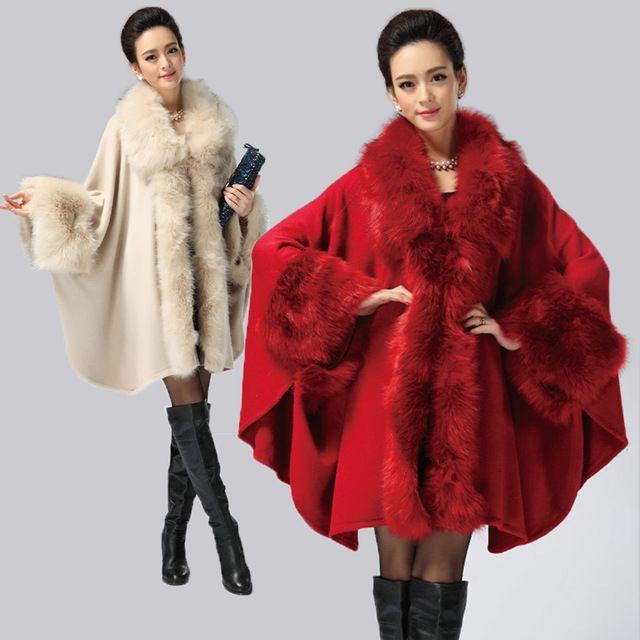 Artı boyutu giyim artı boyutu 2015 sonbahar ve kış orta- uzun artı boyutu büyük kürk yaka kalınlaşma kazak cape giyim