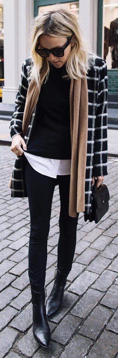 #winter #fashion / Striped Coat / Camel Scarf / Black Turtleneck / Black Skinny Jeans / Black Leather Booties