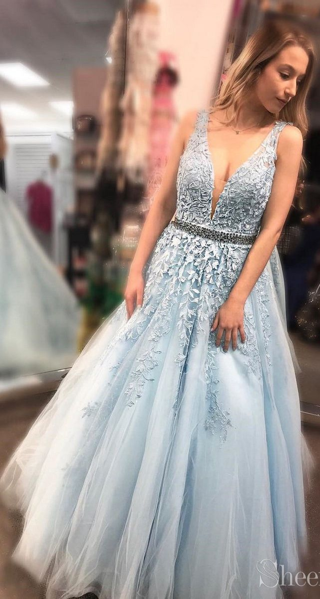 7939193427 Sky Blue Long Lace Applique Prom Dresses Cheap Ball Gown Prom Dress APD3298  in 2019